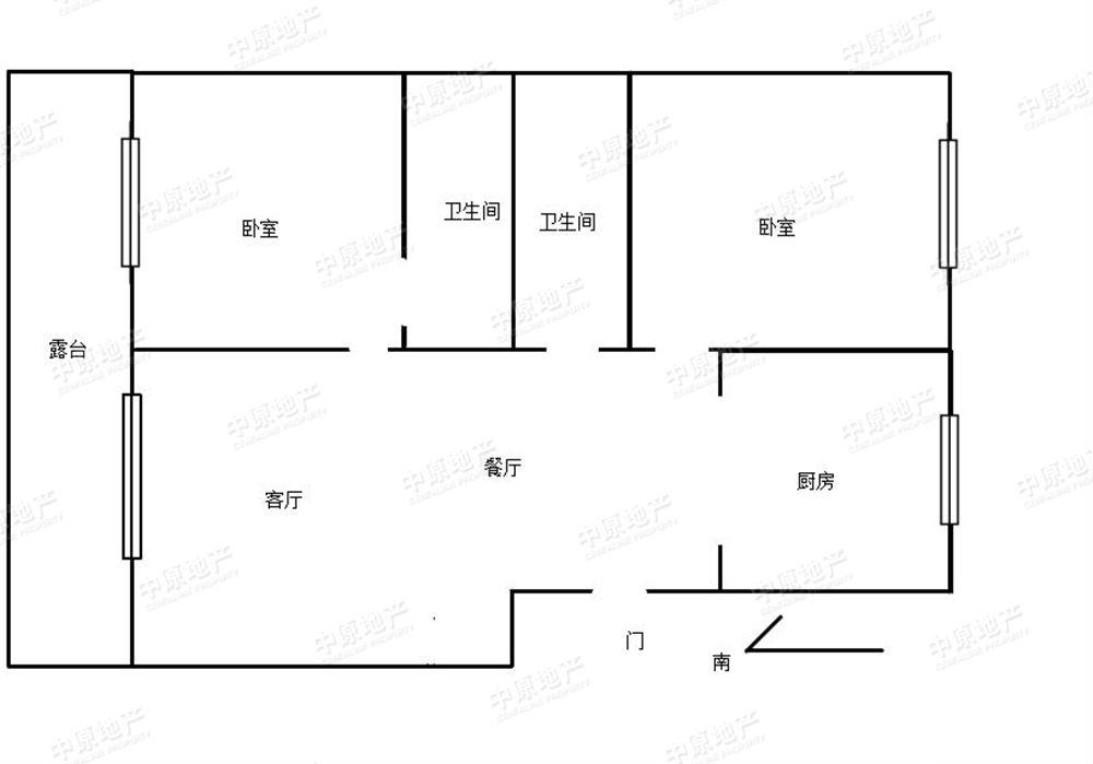 中海城市广场 2室1厅2卫 h户型 小区中间位置