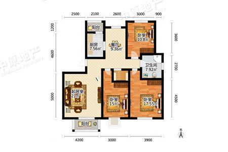 百合春天雪莲东里 3室2厅1卫 双阳台 全明户型