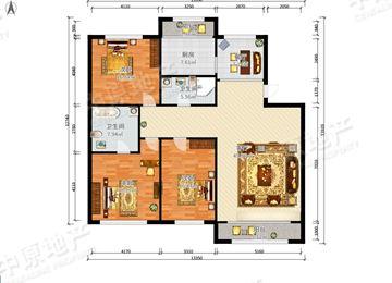 新世纪城 3室2厅2卫 h户型 主卧朝南