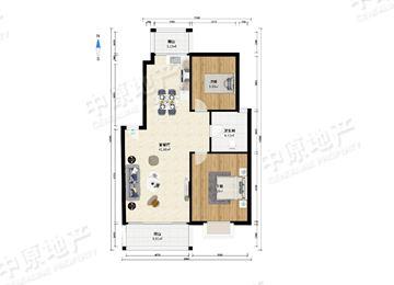 太阳城丹荔园 2室1厅1卫 客厅带阳台 客厅朝南